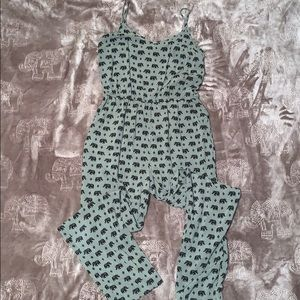 Olive Green with Elephant Print Jumpsuit Size M